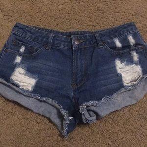 F21 denim distressed shorts